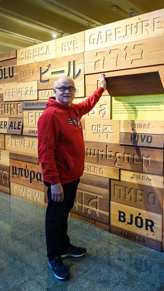 Michel studying Beer exhibit