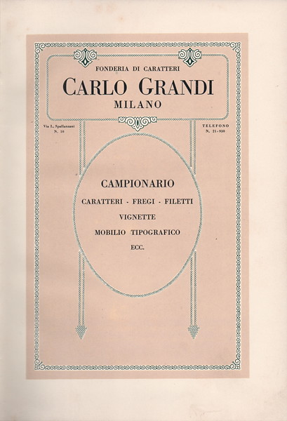 Catalogue of the Carlo Grandi Foundry in Milan. 1930s.