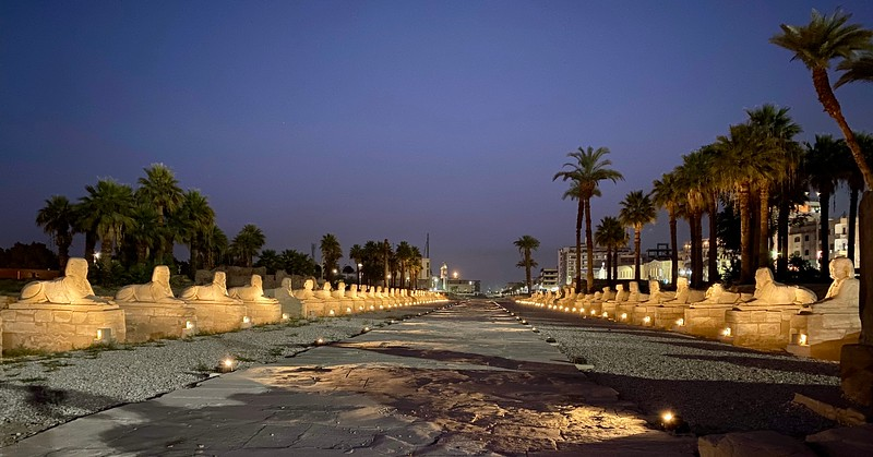 The Avenue of the Sphinxes is a 1.8mi ancient processional route that once linked Luxor Temple with the Temple of Mut at Karnak to the north.  The approximately 1,350 sphinxes which originally lined the route, were built between 380-363 BC.