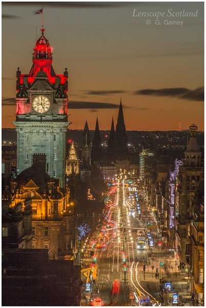 Balmoral Hotel clock tower and Princes Street at dusk from Calton Hill (3)