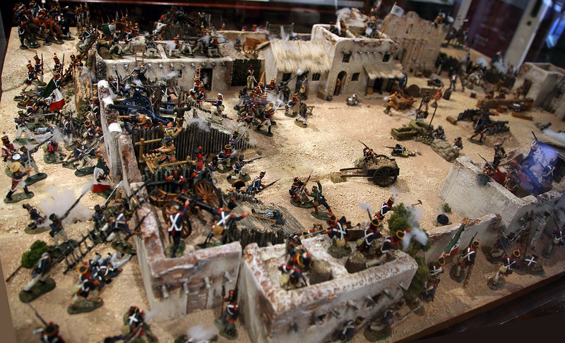 The Hotel sells very ornate lead soldiers.   Here is a lead soldier diorama of the battle of the Alamo.