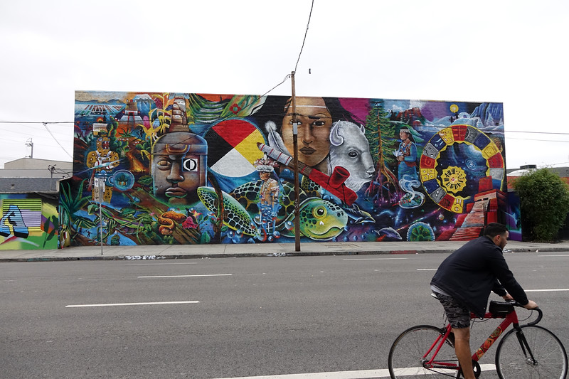 The Earth Crew mural, a community mural being redone from the 1980s.