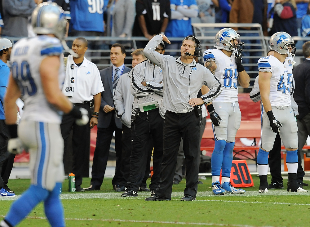 . Head Coach Jim Schwartz of the Detroit Lions disagrees with a call against the Arizona Cardinals at University of Phoenix Stadium on December 16, 2012 in Glendale, Arizona. Arizona won 38-10. (Photo by Norm Hall/Getty Images)