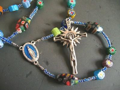 cane glass & millefiori rosary