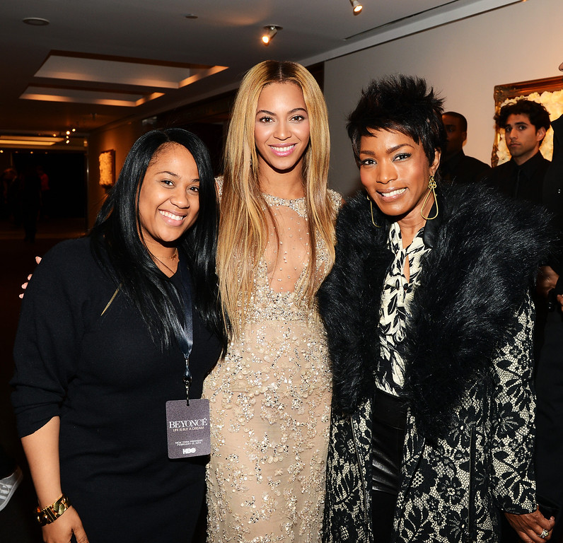 ". (L-R) Angela Beyince, Beyonce and actress Angela Bassett attend the after party following the premiere of the  HBO Documentary Film ""Beyonce: Life Is But A Dream\"" at Christie\'s on February 12, 2013 in New York City.  (Photo by Larry Busacca/Getty Images for Parkwood Entertainment)"