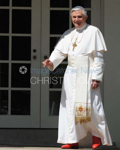 Pope Benedict walks to The Oval Office at The White House.