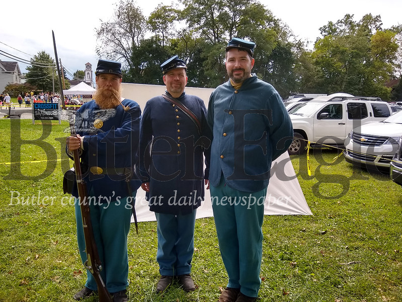 From left, Matthew Nester, Mike Huston and Matt Hooks, all of the 78th Pennsylvania Volunteer Infantry Co. F., Freeport, Sunday at the Saxonburg Arts Festival.taken by Donna Sybert/Butler Eagle