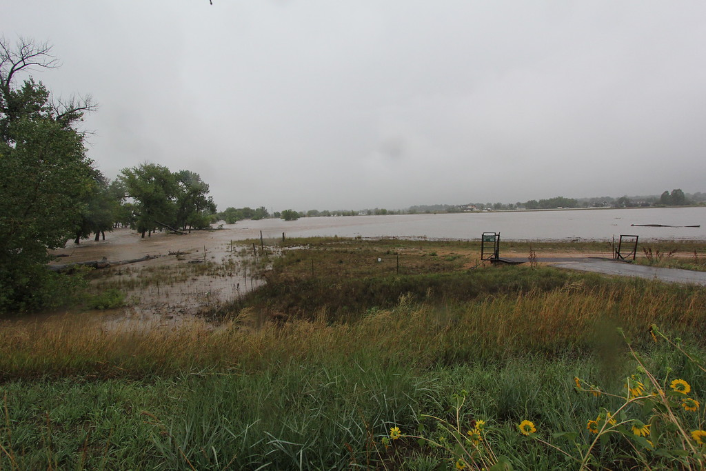 . The St Vrain River spreading well beyond its banks into the nearby fields. Photo by Kevin Hardesty