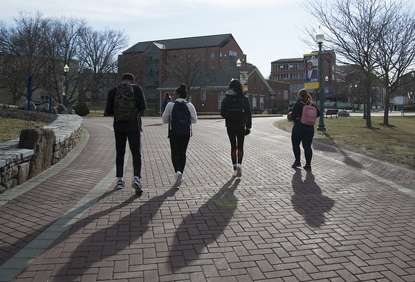 03/11/20 Wesley Bunnell | Staff Students walk near the student union on Wednesday Feb 11, 2020.