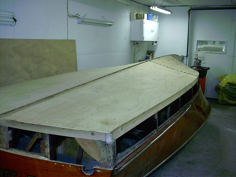 Rear port view of new plywood bottom installed.