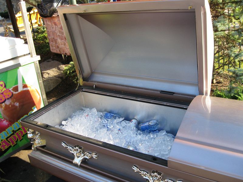This coffin was used as a cooler for drinks.