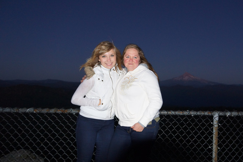 New Friends on Larch Mt.  9/2/12 - Mom & Daughter with Mt Hood in Background.