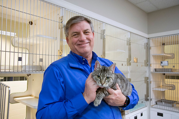 03/10/20 Wesley Bunnell | StaffrrExecutive Director James Bias has recently taken over duties at the CT Humane Society in Newington CT. Here James is shown with a cat named Appletree.