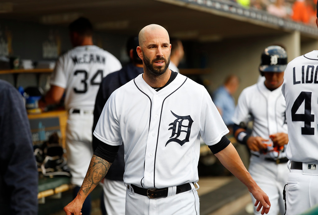 . Detroit Tigers pitcher Mike Fiers walks in the dugout against the Cleveland Indians in the first inning of a baseball game in Detroit, Friday, July 27, 2018. (AP Photo/Paul Sancya)