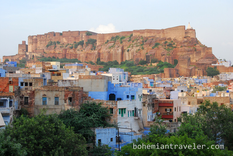 View of Mehrangarh Fort at sunset in Jodhpur.jpg