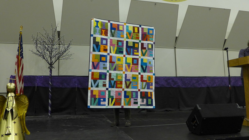 Carol Meyers made this quilt for her daughter and her daughter's fiancé,  Her daughter requested that she not make them any more quilts as she had enough.  However, Carol wanted to make the quilt anyway and it just may become one of her own.