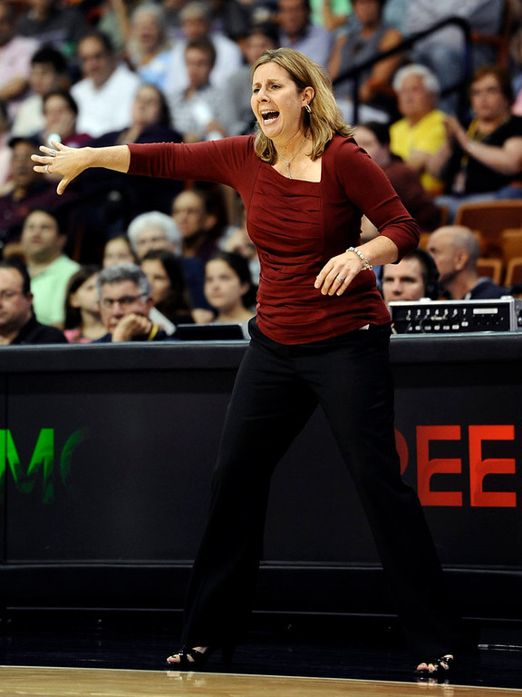 . Minnesota Lynx coach Cheryl Reeve gestures during the first half. (AP Photo/Jessica Hill)