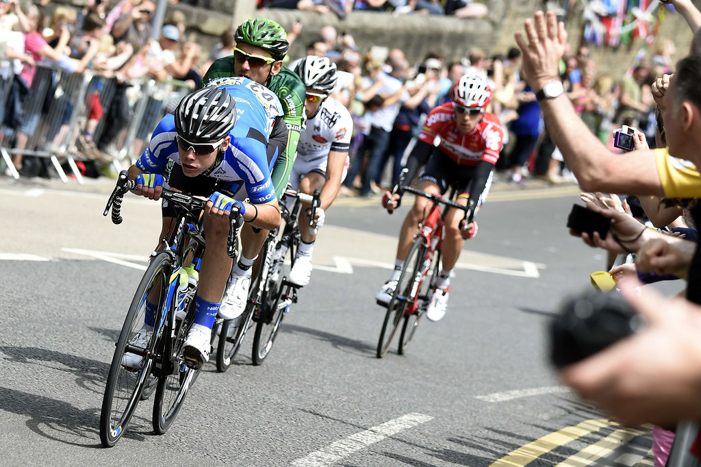 . Spain\'s David de la Cruz Melgarejo, France\'s Perrig Quemeneur, France\'s Armindo Fonseca, and Belgium\'s Bart de Clercq ride in a breakaway during the 201 km second stage of the 101th edition of the Tour de France cycling race on July 6, 2014 between York and Sheffield, northern England.  AFP PHOTO / ERIC FEFERBERGERIC FEFERBERG/AFP/Getty Images