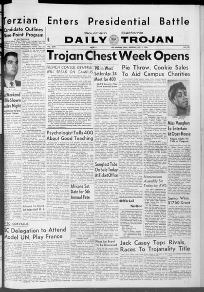 Daily Trojan, Vol. 47, No. 103, April 02, 1956