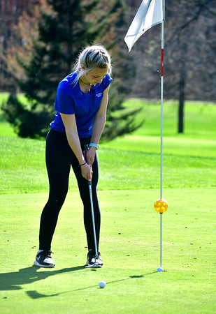 4/23/2019 Mike Orazzi | Staff St. Paul's Sarah Richardson putts at the Westwoods Golf Course on Tuesday.