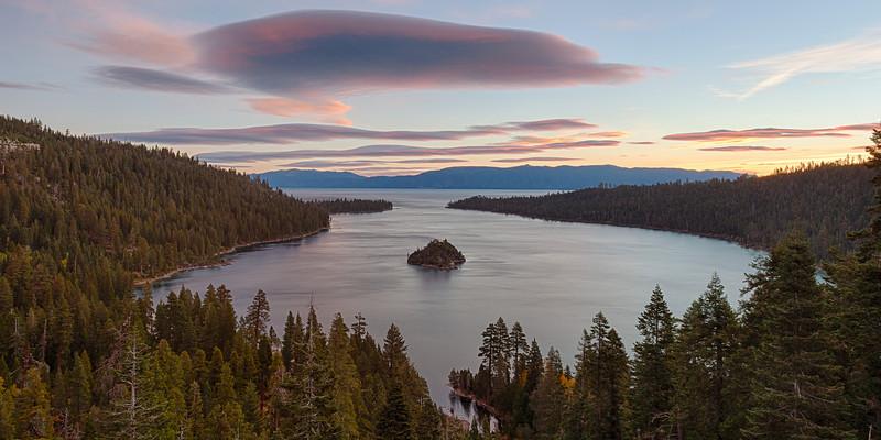 A beautiful sunrise over Lake Tahoe's Emerald Bay