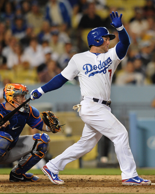 . Nick Punto hits a 2 RBI double in the 5th inning. The Dodgers played the New York Mets in a game at Dodger Stadium in Los Angeles, CA. 8/13/2013(John McCoy/LA Daily News)
