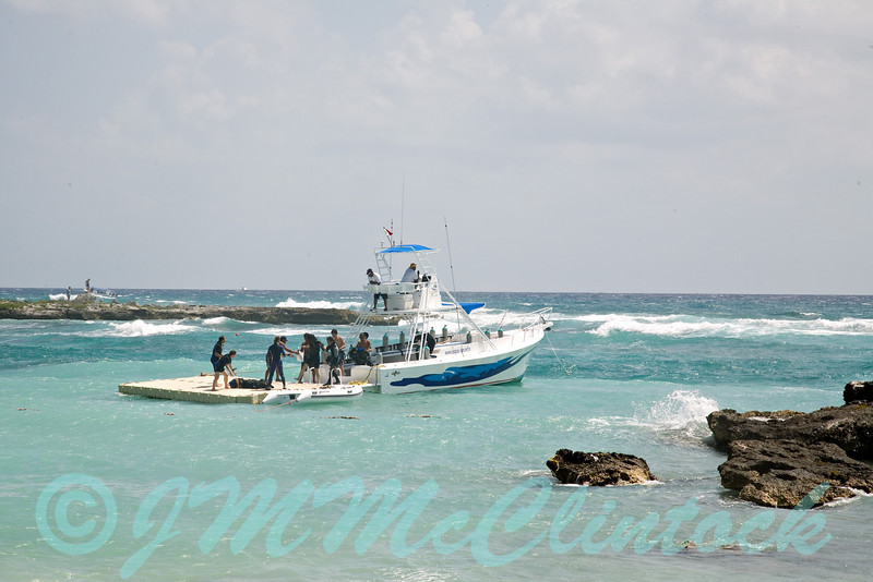 Scuba diving boat.  Just off the beach at the Grand Sirenis resort.