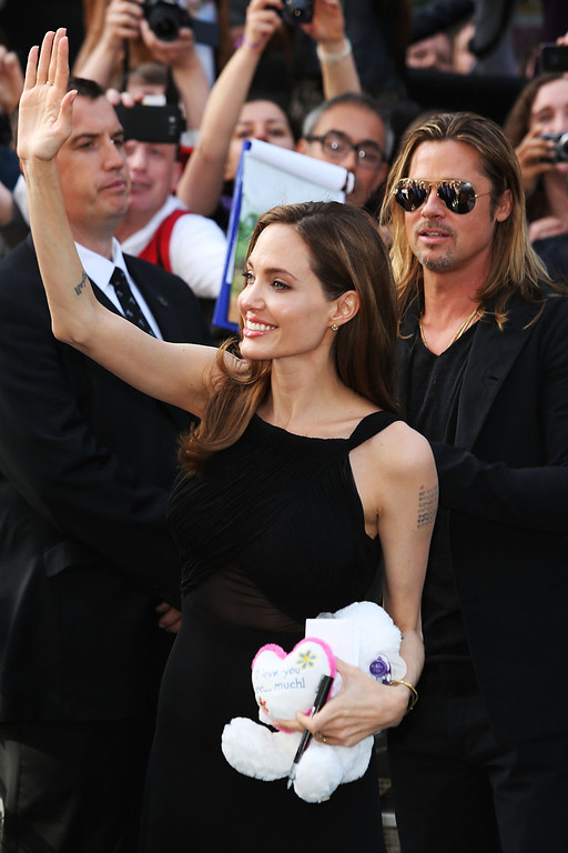 . Angelina Jolie & Brad Pitt attends the World Premiere of \'World War Z\' at The Empire Cinema on June 2, 2013 in London, England.  (Photo by Tim P. Whitby/Getty Images)