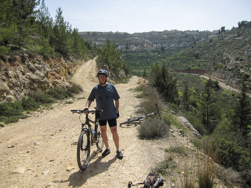 Lewis mtn. biking in the Jerusalem Forest.