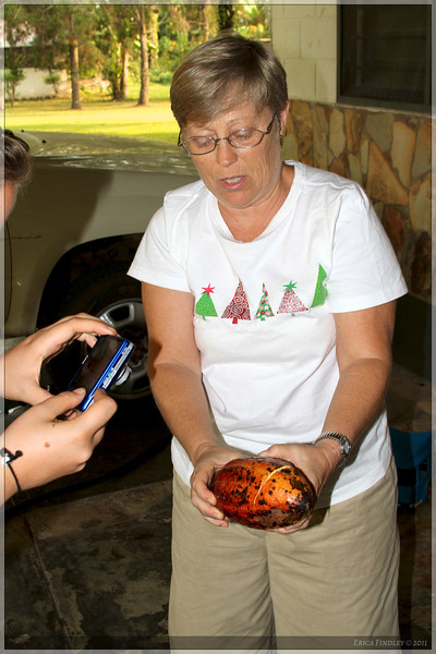 Jane is demonstrating a cocoa pod.  We got to eat, or rather suck on, the seeds.