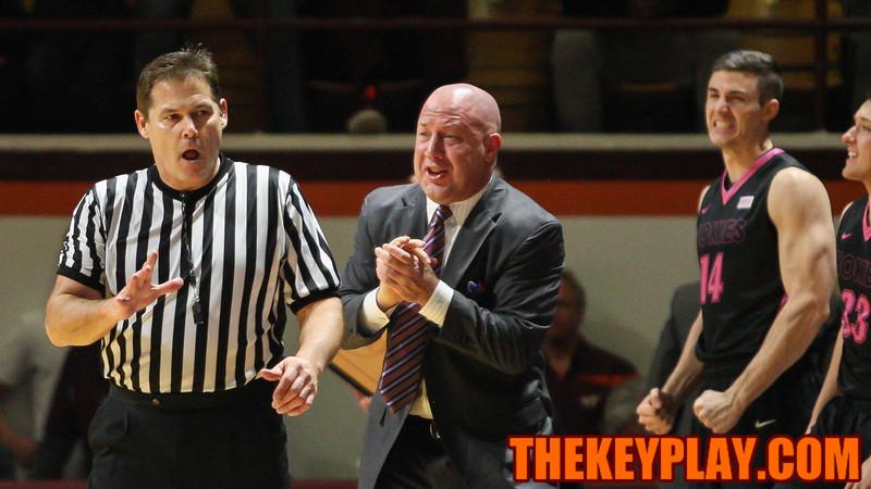Virginia Tech head coach Buzz Williams pleads with a referee after a foul call against the Hokies. (Mark Umansky/TheKeyPlay.com)