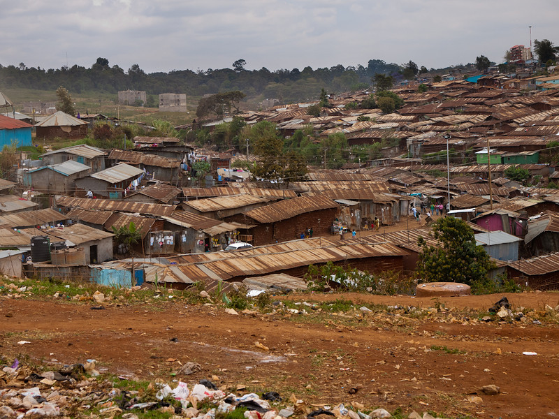 Kibera - sub-Saharan Africa's largest shantytown.  The 2nd largest mega slum in the world.  Outside of Nairobi, Kenya.