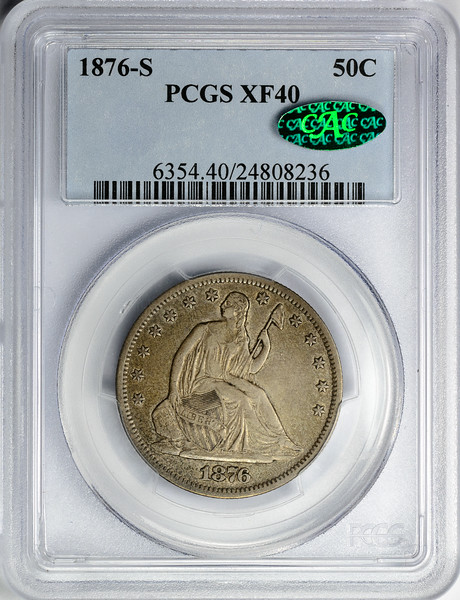 1876 S HALF DOLLAR - SEATED LIBERTY, MOTTO PCGS XF40 CAC Obverse