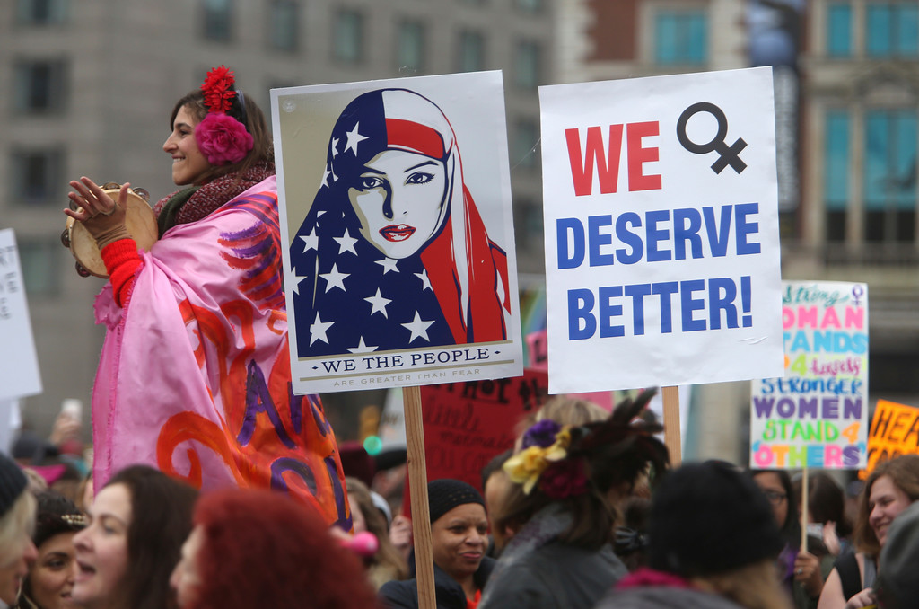 . Thousands of people gather as they prepare to march in protest of President Donald Trump Saturday Jan. 21, 2017 in Philadelphia. The march is being held in solidarity with similar events taking place in Washington and around the nation.(AP Photo/Jacqueline Larma)