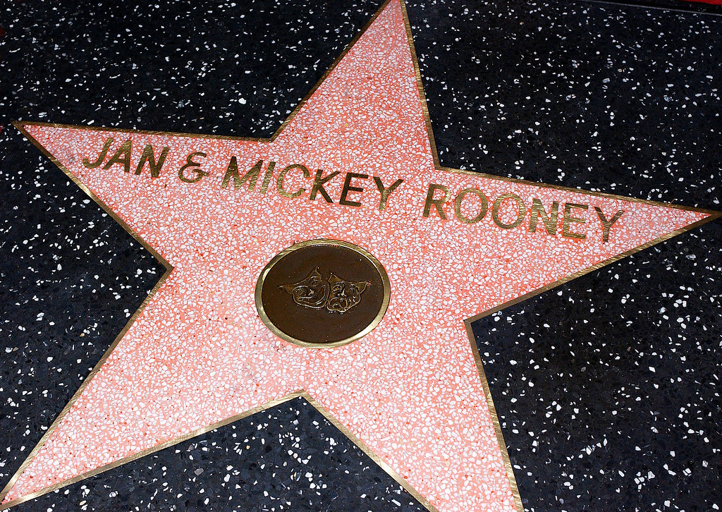 . Actor Mickey Rooney and wife Jan\'s star on the Hollywood Walk of Fame on April 26, 2004 in Hollywood, California. (Photo by Vince Bucci/Getty Images)