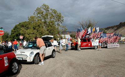Lining up for the Palisade Peach Festival Parade, Saturday morning.