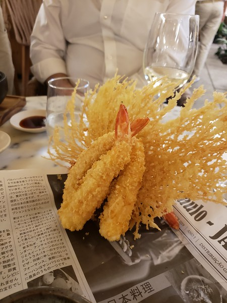 Shrimp Tempura arrangement for dinner at Shopping Cidade Jardim. Dinner with Dario and Regina Guarita.