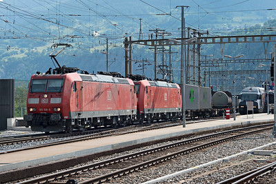 Double headed DB Class 185 freight heads north from Brig