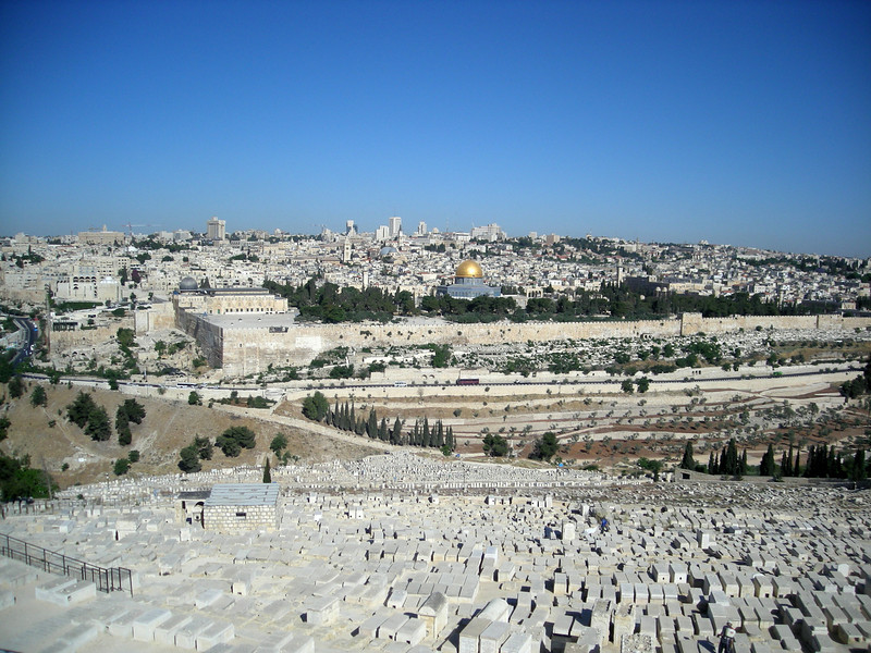 view of the old city and the Haram ash Sharif - Temple Mount from the Mount of Olives, across the Jewish cemetery.