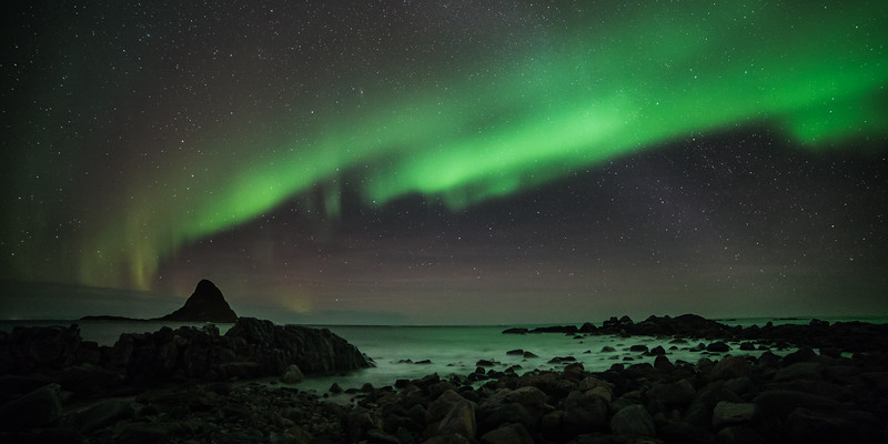 Aurora Passing the Milky Way