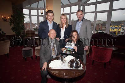 President of Newry Chamber of Commerce and Trade Michael McKeown and Orla Jackson are pictured with Caolan Trainor, Shauna Cahill and Steven McDonnell from Servisource. R1604003