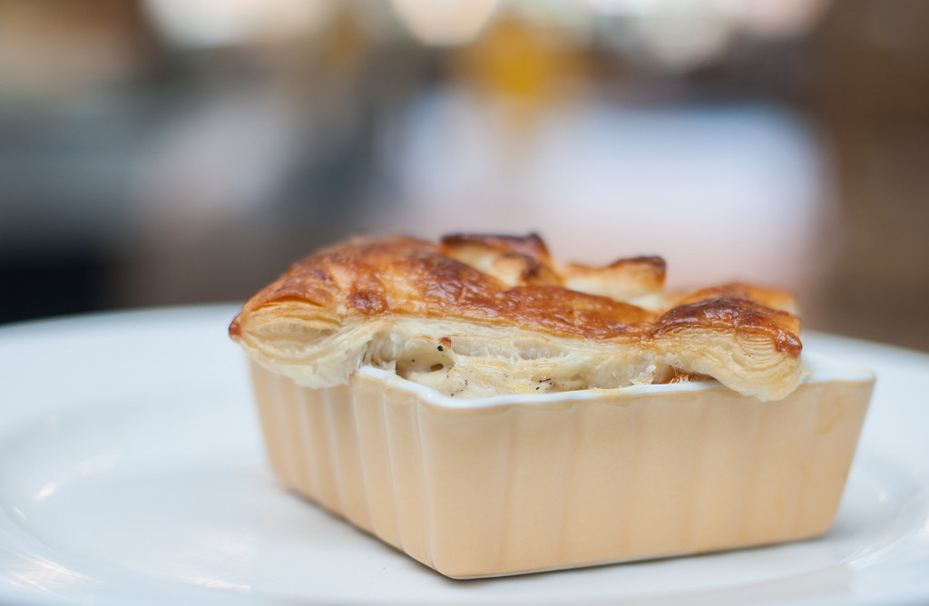 ". Chicken potpie is shown at the Market on Main, which chef Emma Currie said is ""the quintessential comfort food, roast chicken, with vegetables, a creamy soul satisfying sauce, and buttery flaky pastry baked in the oven with little fuss.\"" (Sun photo by Holly Mahaffey/@hollymahaffey)"