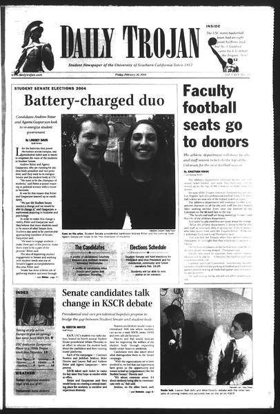 Daily Trojan, Vol. 151, No. 25, February 20, 2004