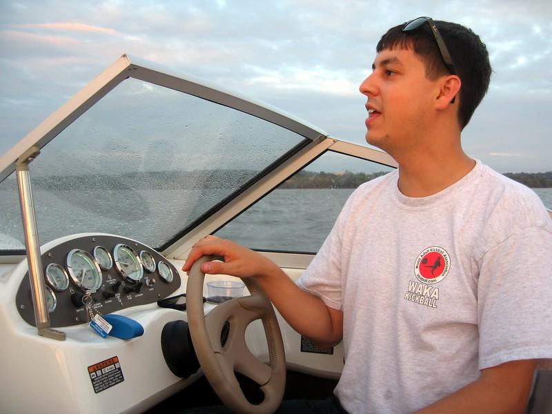 Captain Raf steers his vessel
