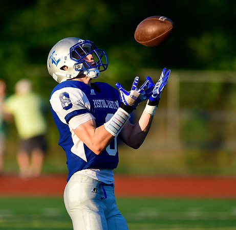 9/14/2018 Mike Orazzi | Staff Bristol Eastern High School's Bryce Curtin (8) during Friday night's football game with Middletown in Bristol.