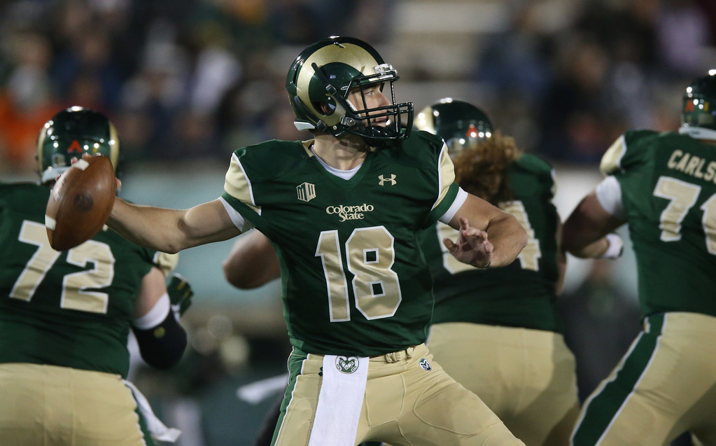 . Colorado State quarterback Garrett Grayson throws against Hawaii in the first quarter of an NCAA college football game in Fort Collins, Colo., on Saturday, Nov. 8, 2014. (AP Photo/David Zalubowski)