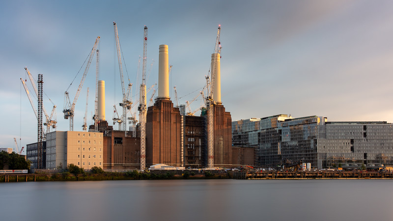 Construction cranes at Battersea Power Station