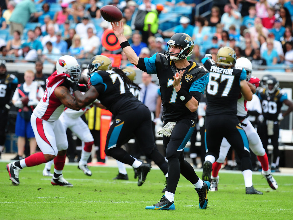 . Chad Henne #7 of the Jacksonville Jaguars passes against the Arizona Cardinals at EverBank Field on November 17, 2013 in Jacksonville, Florida. (Photo by Scott Cunningham/Getty Images)