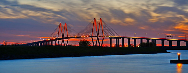 Fred Hartman Bridge at Sunset:  03-08-2018