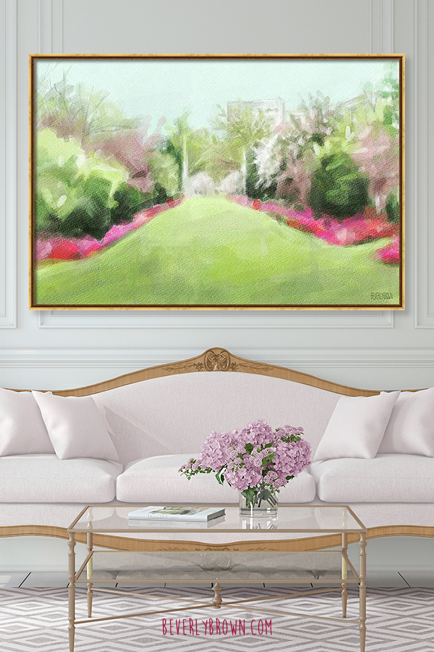 Brooklyn Botanic garden painting canvas wall art by Beverly Brown over white antique sofa in glam living room.